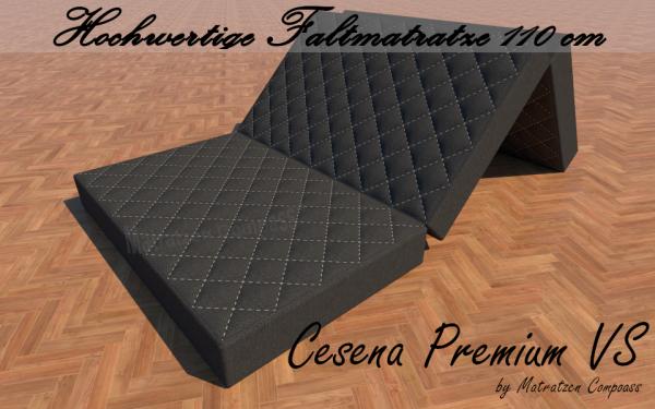 Cesena Premium VS 110 x 200 x 14 cm Faltmatratze mit Memoryschaumauflage grau