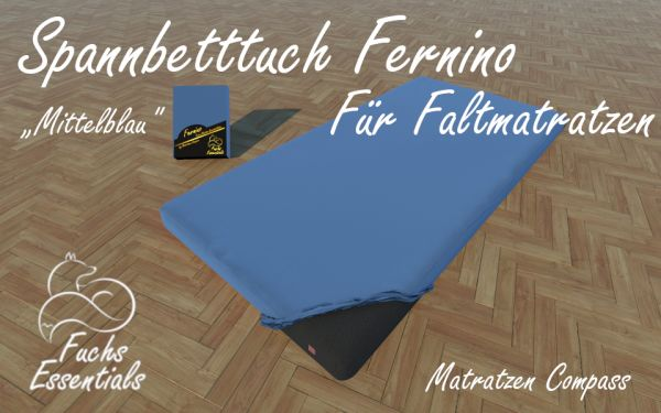 Bettlaken 100x190x14 Fernino mittelblau - insbesondere für Faltmatratzen