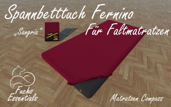 Spannbetttuch 100x190x8 Fernino sangria - besonders geeignet für Faltmatratzen