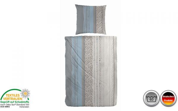 Biber-Bettwäsche grau/blau/braun gestreift (075)